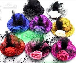 Wholesale Clip Top Hat Wholesale - Feather fashion Cocktail HAIR clips Party Decoration top hat fascinator CUTE children hair clip