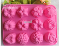 Wholesale Silicone Chocolate Sheet - Flower Star Chocolate Muffin CupCake cake Candy Ice Silicone Tray Mold Mould 12 Cavity per sheet