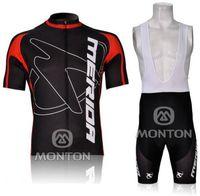 merida джерси красный оптовых-2012 MERIDA BlackRed M09 с коротким рукавом Велоспорт Джерси велосипед одежда + нагрудник шорты комплект A013 размер XS-4XL