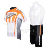 vélos merida blanc achat en gros de-2012 MERIDA WhiteOrange Maillot de cyclisme à manches courtes Vélo + Short BIB Taille XS-4XL M007