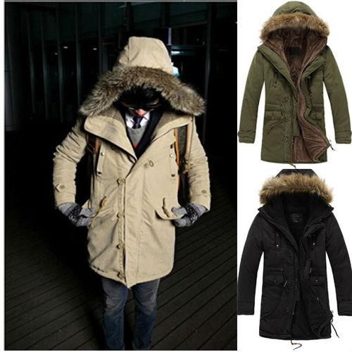 Men's Faux Fur Military Long Winter Trench Coat Jacket Hooded ...