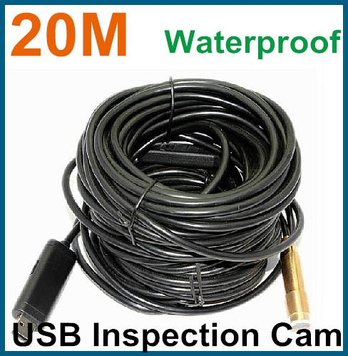 best selling Free Shipping 20M USB Cable Wire Camera Snake Borescope Camera Cam 4 LED endoscope camera Waterproof