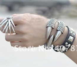 Wholesale Eagle Claw Wholesale - Unisex Western Punk Style 3 Colors Vintage Silver Bronze Gold Plated Eagle Claw Bangles 12pcs lot