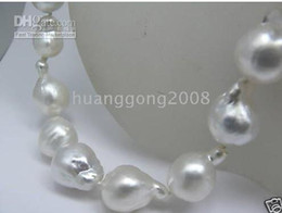 New Fine Pearls Jewelry Genuine 18'' huge 18-23mm white south sea pearls necklace 14k