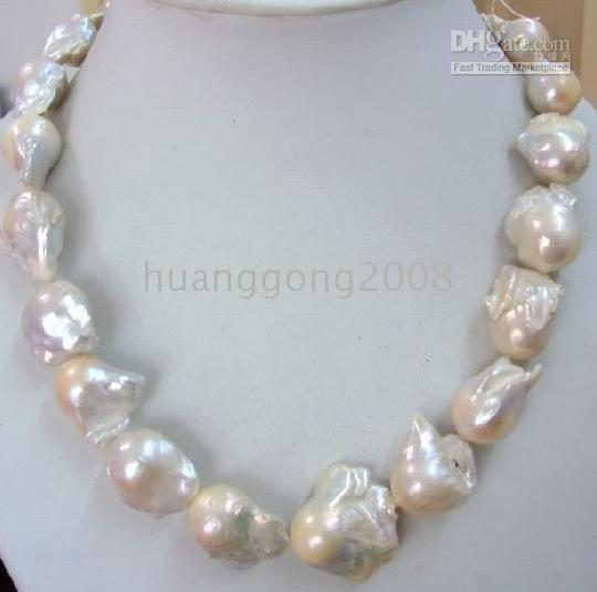 """best selling FINE PEARLS JEWELRY HUGE 20"""" 25-30MM NATURAL SEA BAROQUE WHITE PEARL NECKLACE 14K"""