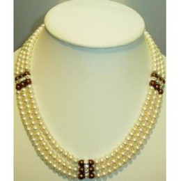 "19 inches necklace 2020 - free shipping GENUINE 3 ROW SOUTH SEA WHITE CHOCOLATE PEARL NECKLACE 17""18""19""INCHES discount 19 inches n"