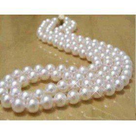 New Fine Pearls Jewelry double strands south sea 9-10mm white pearls necklace 18-19inches 925 silver clasp