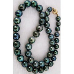 Wholesale Black Pearl Gold Necklace - free shipping AAAA+ 18inch 9-9.5mm tahitian black pearl necklace