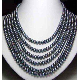 "fine natural pearls jewelry Genuine 6 Row South Sea Black Pearl Unite Necklace 18""-19""20""21""22""23"""