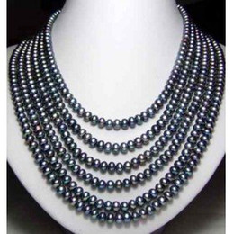 """genuine south sea pearl pendant 2019 - fine natural pearls jewelry Genuine 6 Row South Sea Black Pearl Unite Necklace 18""""-19""""20""""21""""22"""""""