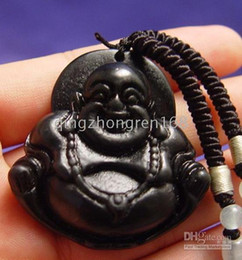 New Fine Jewelry Lucky Black Jade Pendant Beads Collana di Buddha che ride