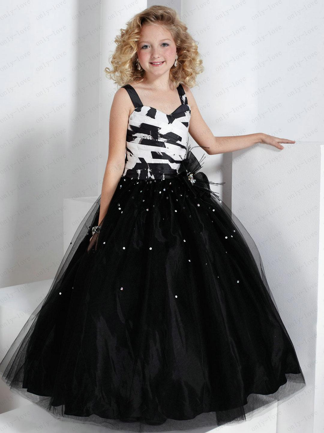 9b5319ff4 Black And White Flower Girl Dresses Spaghetti Strap Bead Crystal ...