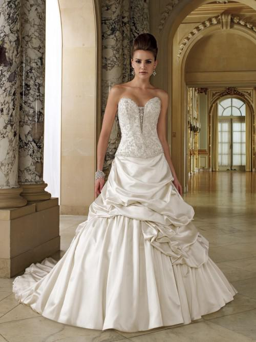 Discount A Line Champagne Wedding Dresses Sweetheart Appliques ...