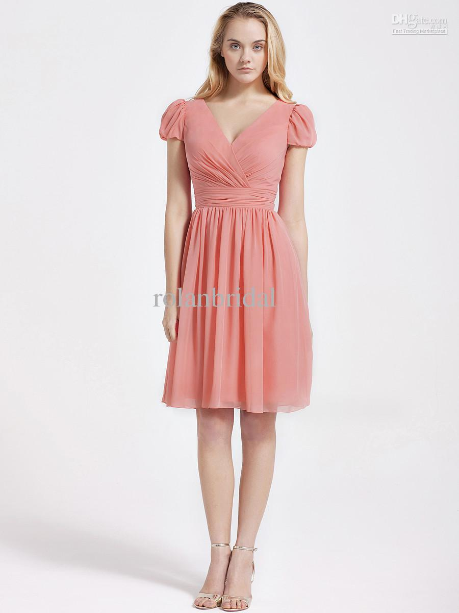 2014 New V Neck Short Sleeves Party Dresses Cocktail Dress Ruffles ...