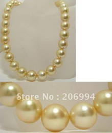 Wholesale 16mm South Sea Pearl Pendant - Wholesales Wonderful!16mm Champagne South Shell Sea Pearl Necklack pearl Jewelry fashion jewellery, free shipping