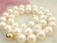 "Wholesale Beautiful Pearl Jewellery Necklaces - Wholesales Beautiful 9-10mm white freshwater pearl necklace 18"" pearl Jewelry fashion jewellery, free shipping"