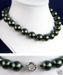 Wholesale 12mm South Sea Pearl Necklace - Wholesales 12mm south sea black shell pearl necklace pearl Jewelry fashion jewellery, free shipping