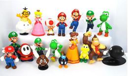 Wholesale Super Mario Toad Figure - 18pcs set Super Mario Bros Action figures Toys set Yoshi Dinosaur Peach Toad Goomba PVC Doll Mario Luigi PVC toys gifts free shipping
