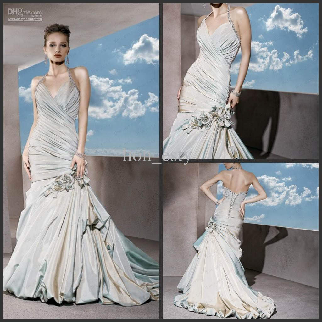 Grey Blue Mermaid Bridal Gowns Taffeta Halter Lace Up Beaded Straps Hand Made Flower Demetrios Gr216 Gown Style Ivory Wedding Dress From Hon Esty