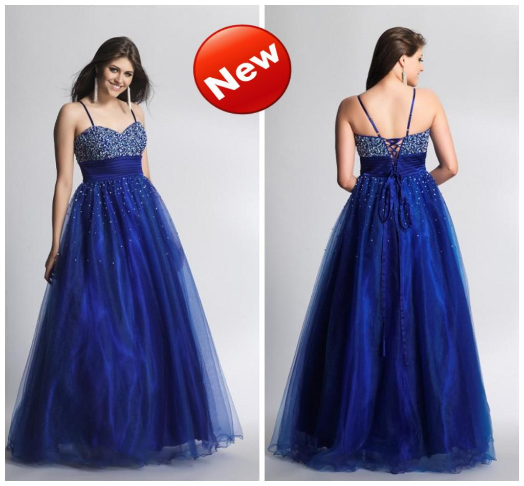 2016 Spaghetti Long Ball Gown Shiny Beaded Sequins Royal Blue Plus ...