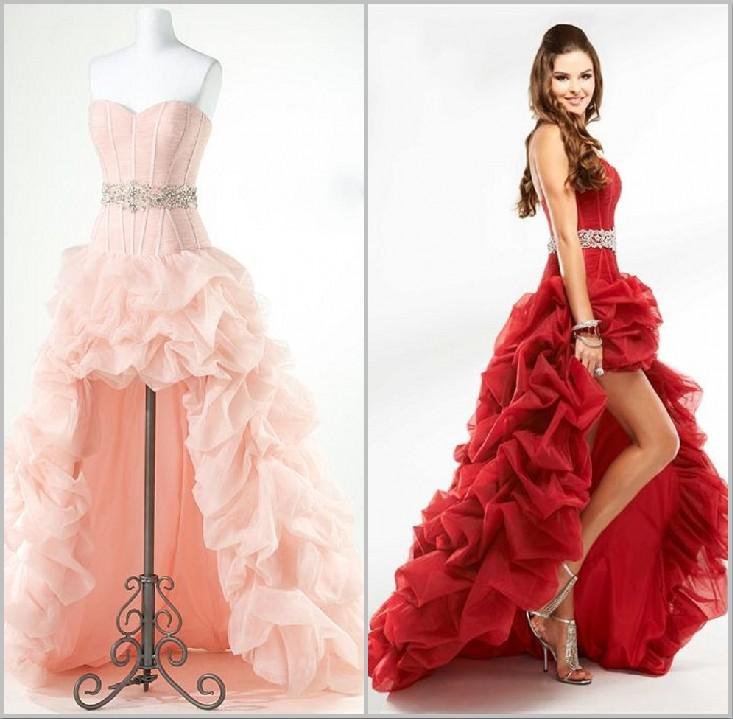2015 Designer High Low Tulle Corset Prom Dress Strapless Red Beaded ...