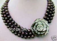 Wholesale Black Freshwater Pearl Jewellery - Lowest Charming 3rows 7-8mm black freshwater pearl necklace shell flower clasp pearl Jewelry fashion jewellery