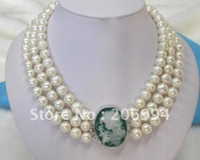 Wholesale Pearls Cameo Necklace - Lowest Stylish Classic 3 rows 7-8mm cameo belle clasp pearl Necklace pearl Jewelry fashion jewellery