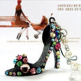 Wholesale Key Ring Mobiles - Free Shipping High heel Shoes Mobile phone key chain ring keychain keychains 30 Pcs Lot