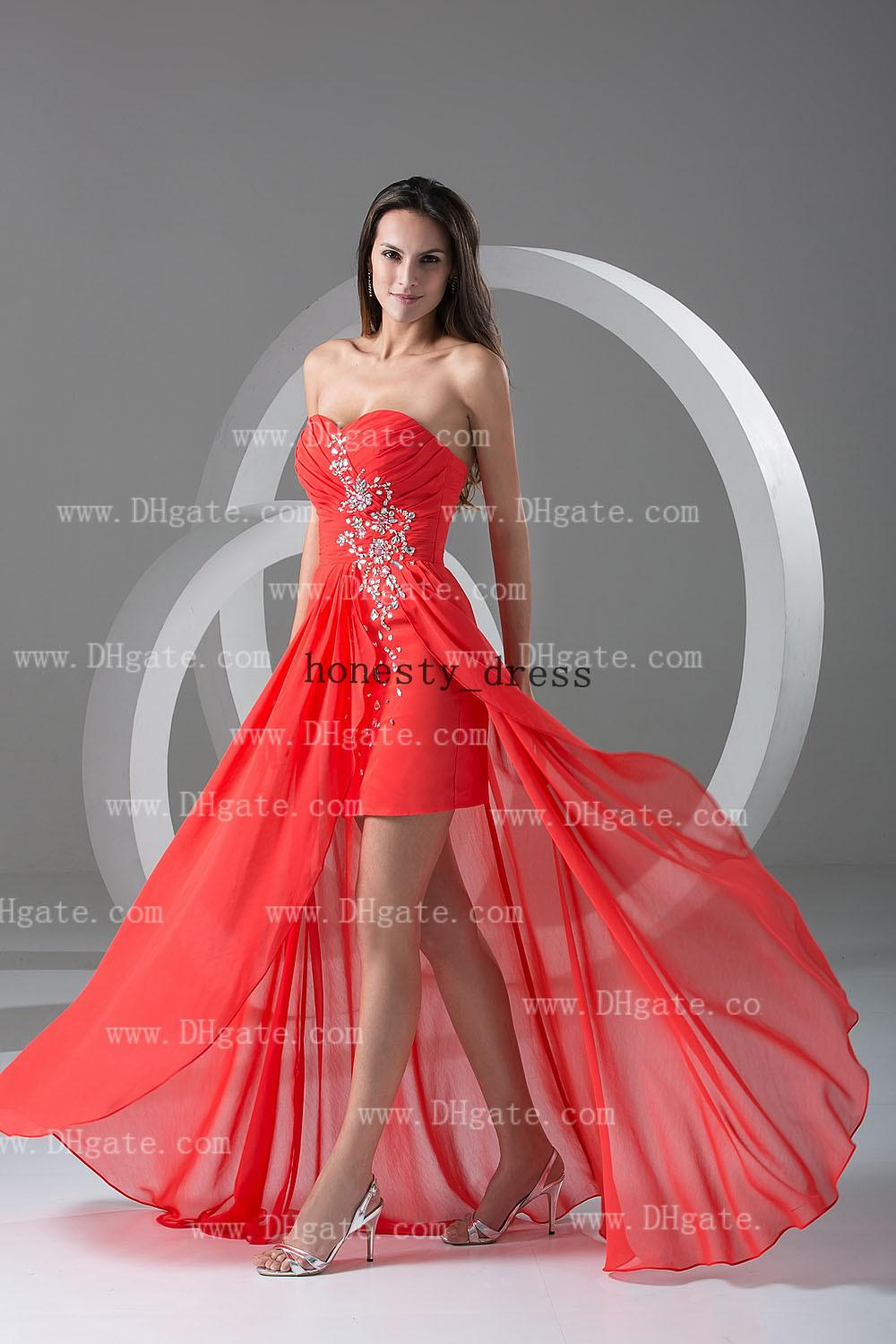 2016 Chic Salmon Pink Sheath Side Drapes Hi Lo Prom Dress ... Salmon Prom Dresses 2013