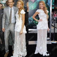 Wholesale New Celebrity Gossip - 2013 New Blake Livel White Colour Elegant Tulle Flowers Appliques Celebrity Dress CBDa001