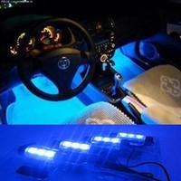 Wholesale White Led Glow Lights - 1Set 4 x 3 LED White   Blue   Pink Light Car Charge interior light 4in1 12V Glow Decorative Atmosphere Lamp