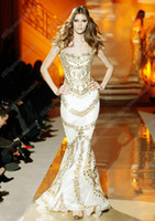 Wholesale Tight Black Evening Dresses - 2015 Sexy White Evening Dresses Mermaid Tight Much Gold Crystals Zuhair Murad Prom Dresses With Beads ZHD001