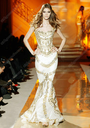 Wholesale Tight Sexy Mermaid Dresses - 2015 Sexy White Evening Dresses Mermaid Tight Much Gold Crystals Zuhair Murad Prom Dresses With Beads ZHD001
