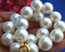 Wholesale Rare Shells - Lowest Rare Huge 20mm south sea White Shell Pearl Necklace AAA pearl Jewelry fashion jewellery