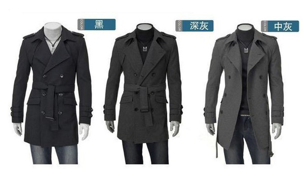 Long section of the men's wool sub- coat autumn and winter epaulets trench coat,trench coats Slim
