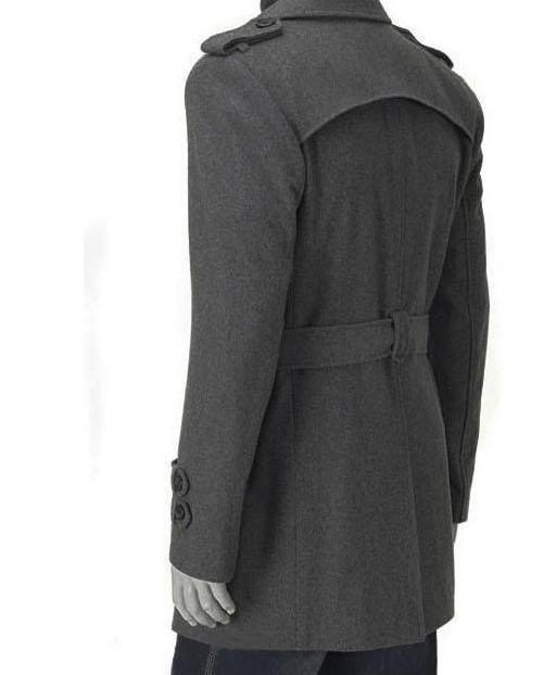Sección larga del abrigo de lana de los hombres otoño e invierno charreteras gabardina, gabardinas Slim