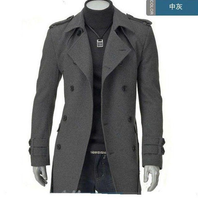 Longue section du sous-manteau en laine pour homme, automne et hiver, épaulettes, trench-coat, trench-coat Slim