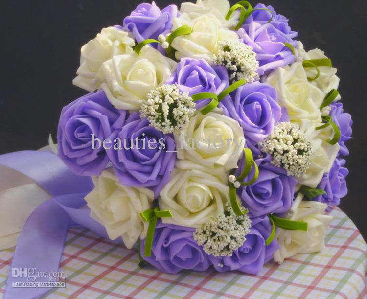 Purple & White Artificial Cascading Silk Wedding Rose Flower Bouquet ...