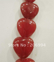 Wholesale Ruby Loose Gemstone Beads - Wholesale 10mm Red Ruby Gemstone Heart Loose Beads 15'' 2pcs lot fashion jewelry
