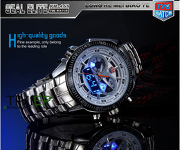 Wholesale Digital Day Clock - 2013 Trendy Men's Sport Clock Fashion Blue Binary LED Pointer Watch Mens Diving Watches Waterproof