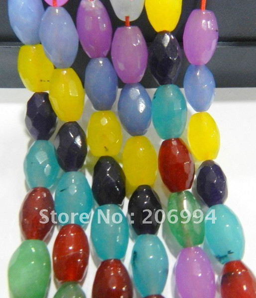 """Wholesale 8X12mm Faceted Mixed Multicolor Rice-shaped Jade Gems Loose Beads 15"""" 2pcs/lot fashion jewelry"""