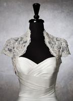 Wholesale Short Sleeves Lace Bolero Jacket - Custom Made Free Shipping Beaded Lace Short Sleeves Bolero Jacket Wedding Prom Evening Dresses Accessory Bridal Accessories