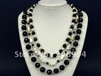 Wholesale Black Freshwater Pearl Jewellery - factory price 3S Black Onyx Facet Round Beads white freshwater pearl Necklace pearl Jewelry fashion jewellery