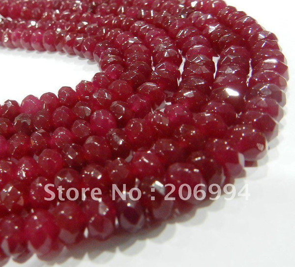 """Wholesale Fine! 4X6mm Faceted Red jade Gems Abacus Loose Beads 15"""" 2pc/lot fashion jewelry"""