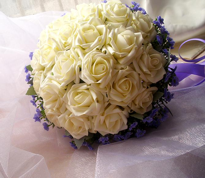 White Artificial Flower Bouquet Cascading Silk Wedding Rose Flowers ...