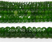 """Wholesale Emerald Abacus - Wholesale 5x8mm Faceted Emerald Abacus jade Loose Beads Gemstone 15"""" 2pc lot fashion jewelry"""