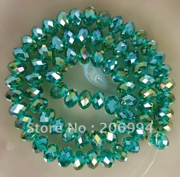 Wholesale 3x4mm Green Multicolor Crystal Faceted Gems Loose Beads 300pc/lot free shipping
