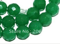 Wholesale Emerald Round Faceted Beads - Wholesale 8mm Green jade Emerald Faceted Round Loose Bead 15'' 2pc lot fashion jewelry