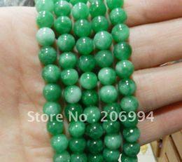 "Wholesale Loose Natural Emerald Gemstone - Wholesale 6mm Natural Green Emerald Round jade Gemstone Loose Beads 15"" 2pc lot fashion jewelry"