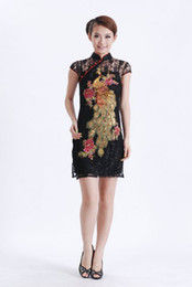 Wholesale White Cheongsam Wedding - Free shipping black lace chinese cheongsam women's evening dress wedding dress S-3XL